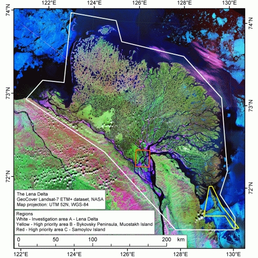 Lena River Delta Various Project Activities Permafrost Laboratory - Lena river on world map