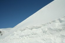 Snow drift along the road on Atigun pass