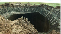 Sinkhole in permafrost on Yamal Peninsula, Siberia